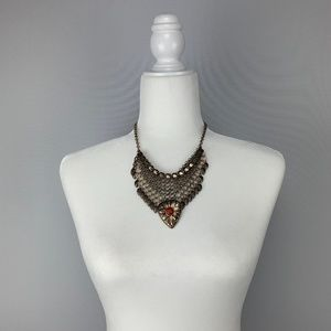 NY & CO Bohemian Gold And Faux Red Stone Necklace